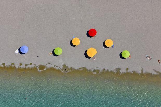 Luftbild vom Riemer See in München-Riem